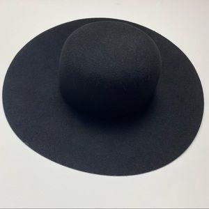 American Apparel One Size 100% Wool Black Wide Brim Hat